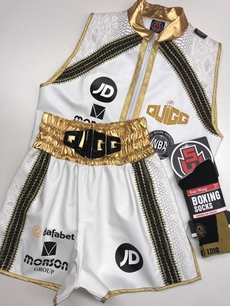 Scott Quigg White Ring Jacket and Boxing Shorts