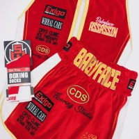 Paul Butler Red Velvet Boxing Shorts and Ring Jacket