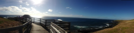 Panoramic view of the Nobbies and boardwalk overlooking the ocean and coastline