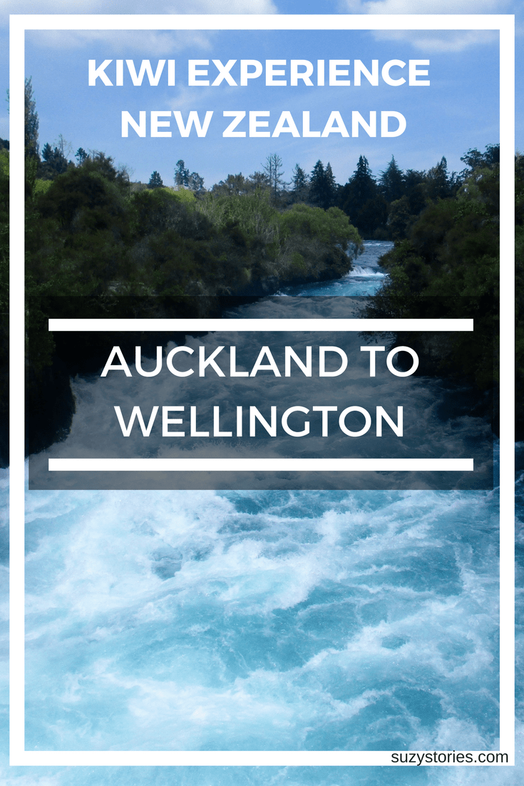 Text overlay of Huka Falls in New Zealand