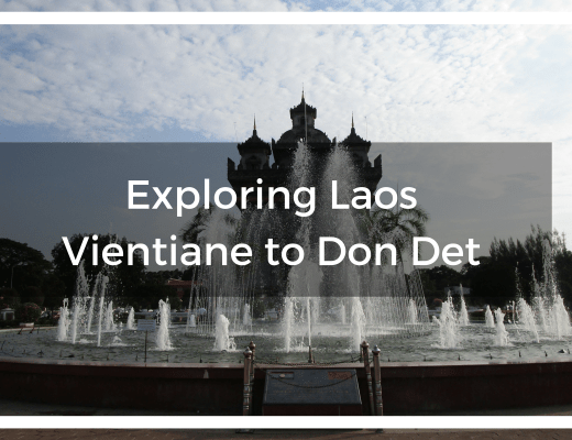 Title text overlay the monument arch and fountain in Vientiane Laos