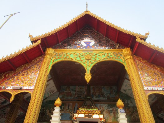 Elaborately dressed front of a local Buddhist temple in northern Laos