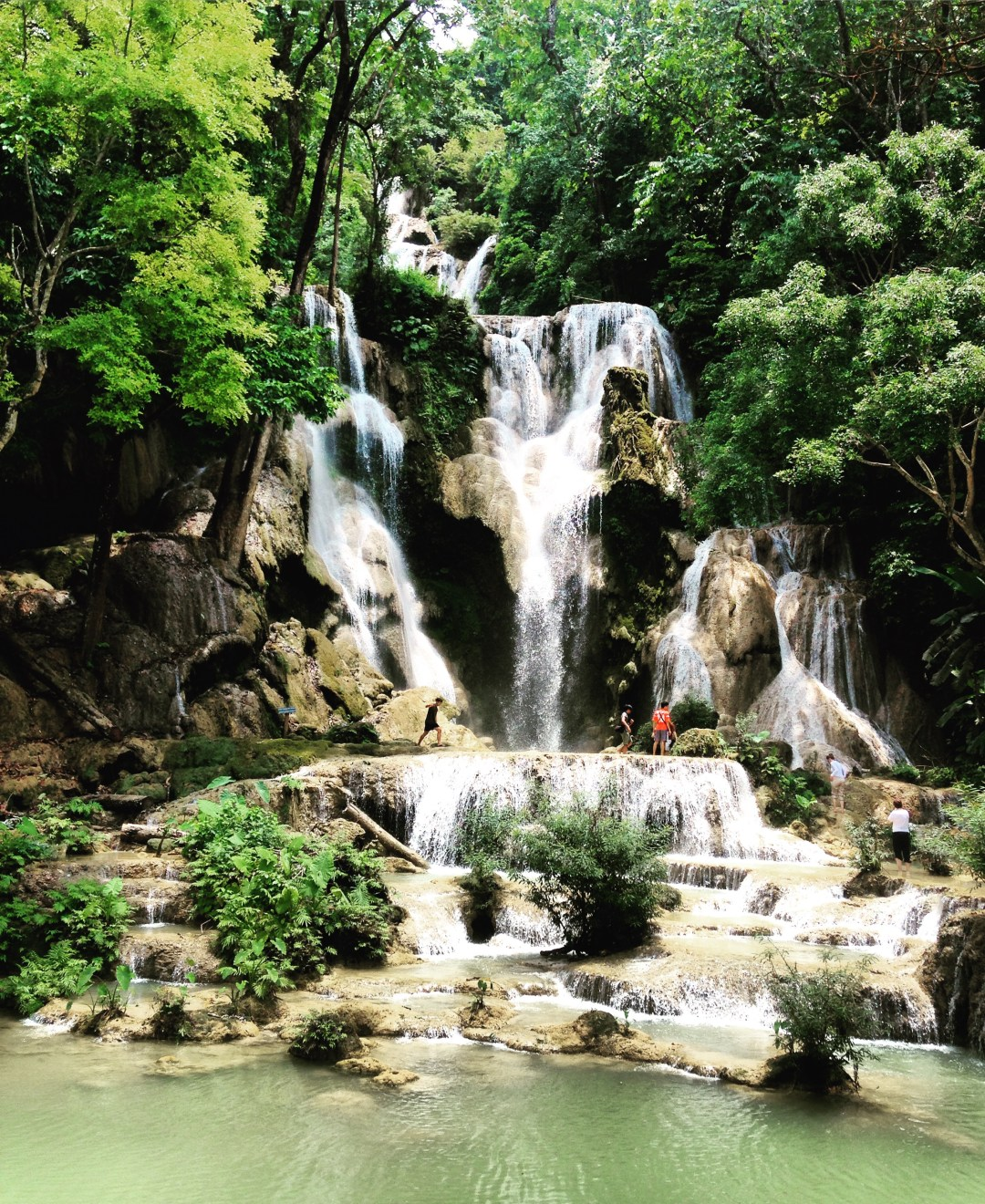 Green jungle surrounds the tall waterfalls