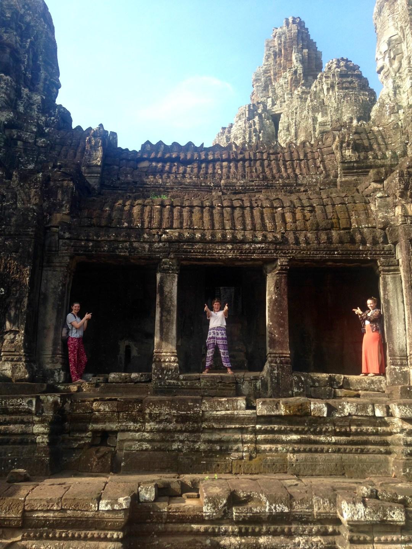 Posing as Lara Croft at Bayon Temple, Cambodia