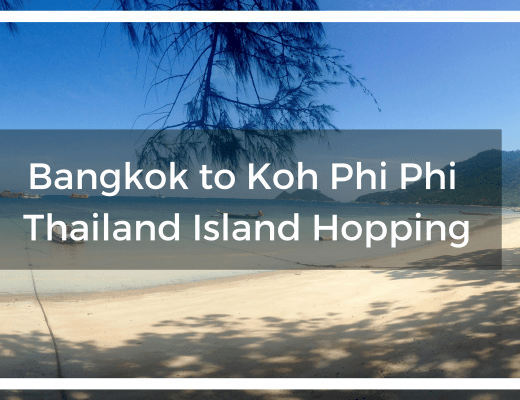 Title text overlay Sairee Beach on Koh Tao with white sands and blue waters shaded by tropical trees