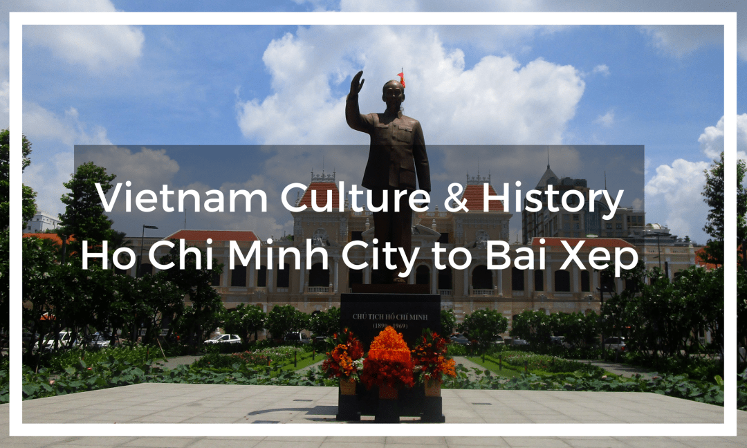 Title text overlay of Parliament Building in Ho Chi Minh City (Saigon) with statue of Ho Chi Minh