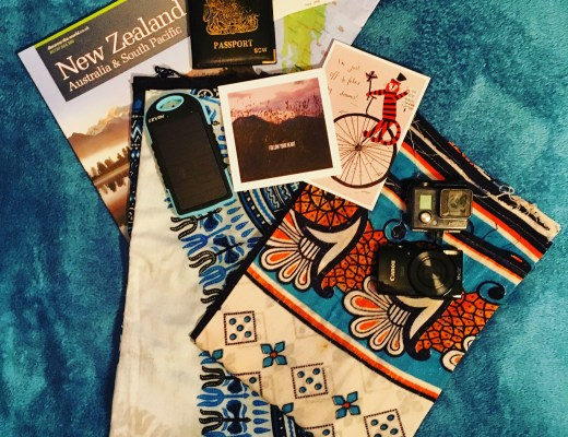 assorted travel accessories flatlay