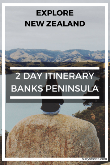 Text overlay of Banks Peninsula in Christchurch New Zealand