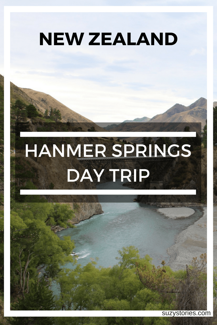 Text overlay of the Hanmer Springs bridge with New Zealand mountains in the background