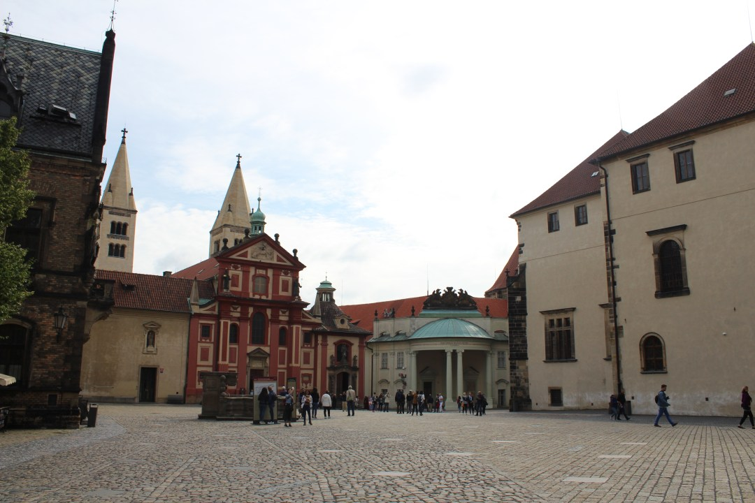 Inside the castle complex, looking onto the chapels and historical buildings