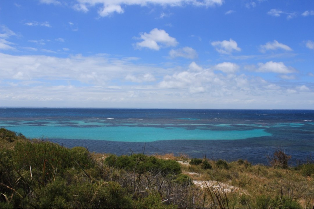 Views over the grassy bank towards bright blue waters of the ocean