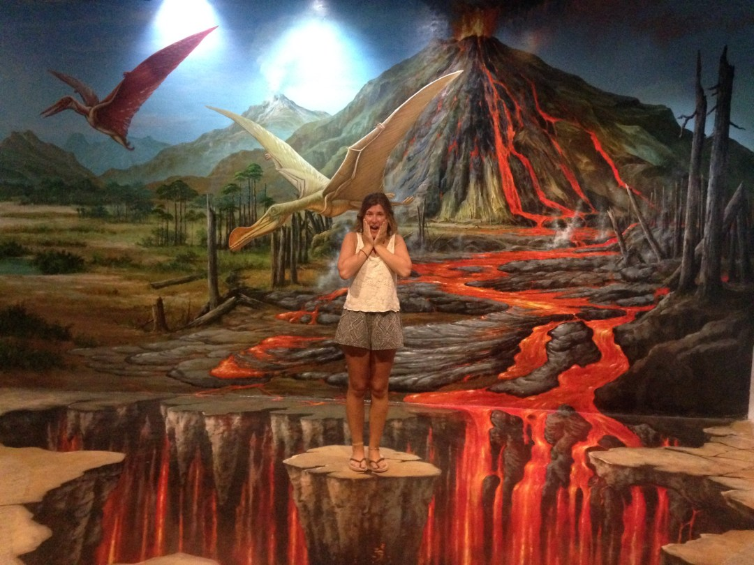 Wall and floor art illusion showing lava