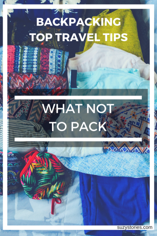 Text overlay of clothes ready to pack for travelling