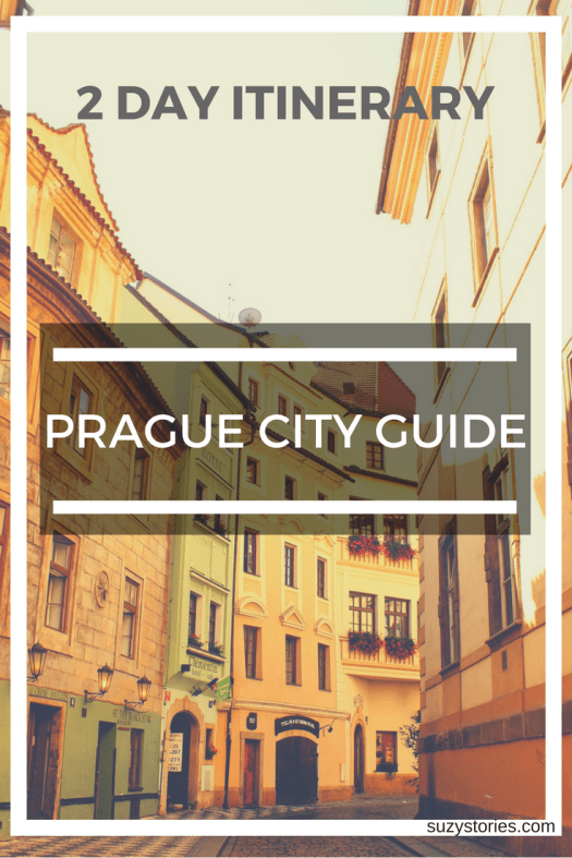 Text overlay of a dreamy street in Prague