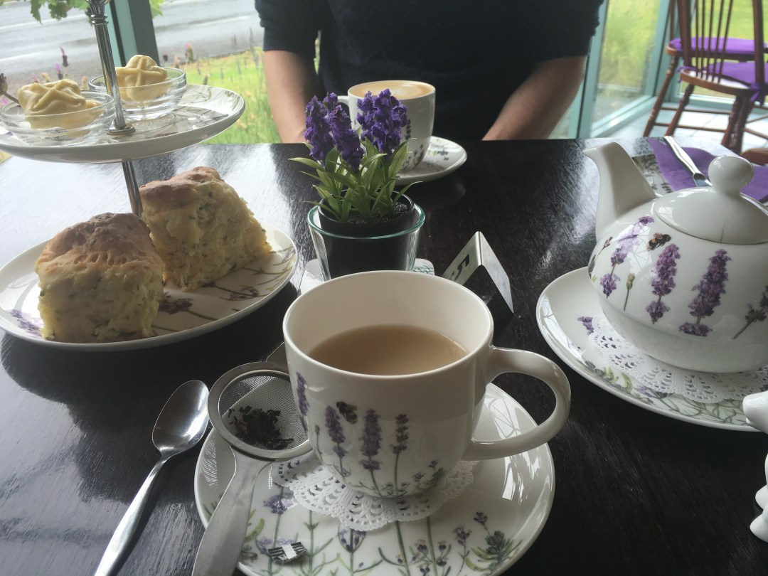 Scones and tea with a lavender theme in Australia