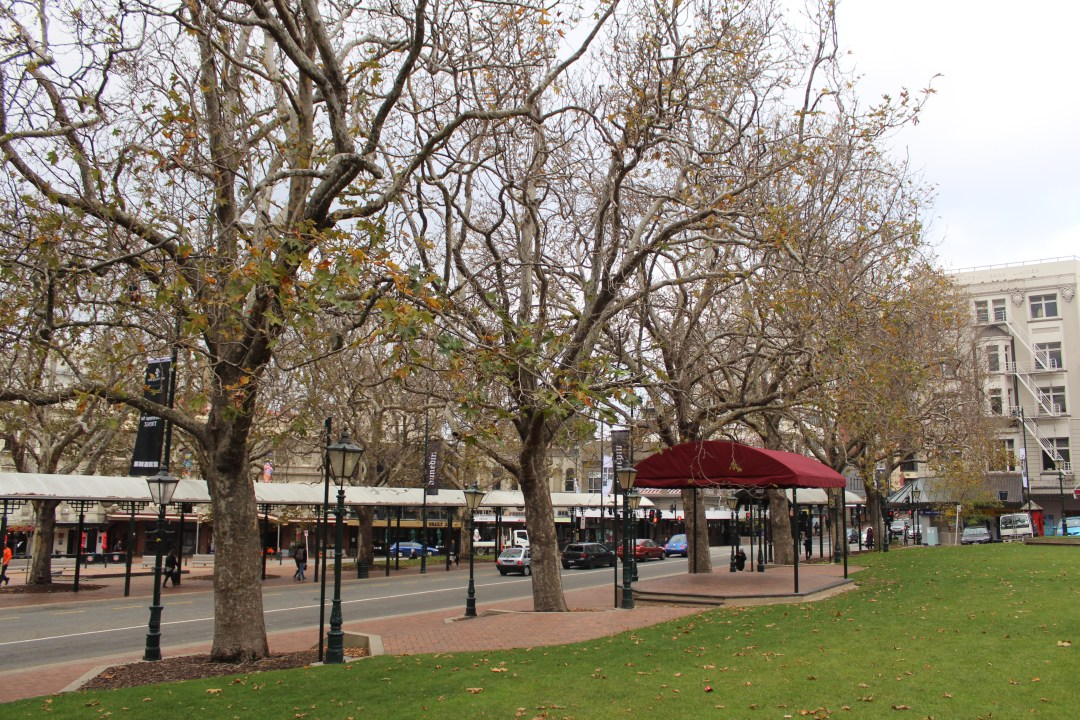 Trees and gazebo of The Octagon in Dunedin, New Zealand