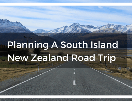 Title text overlay of road in New Zealand with snow-capped mountains ahead
