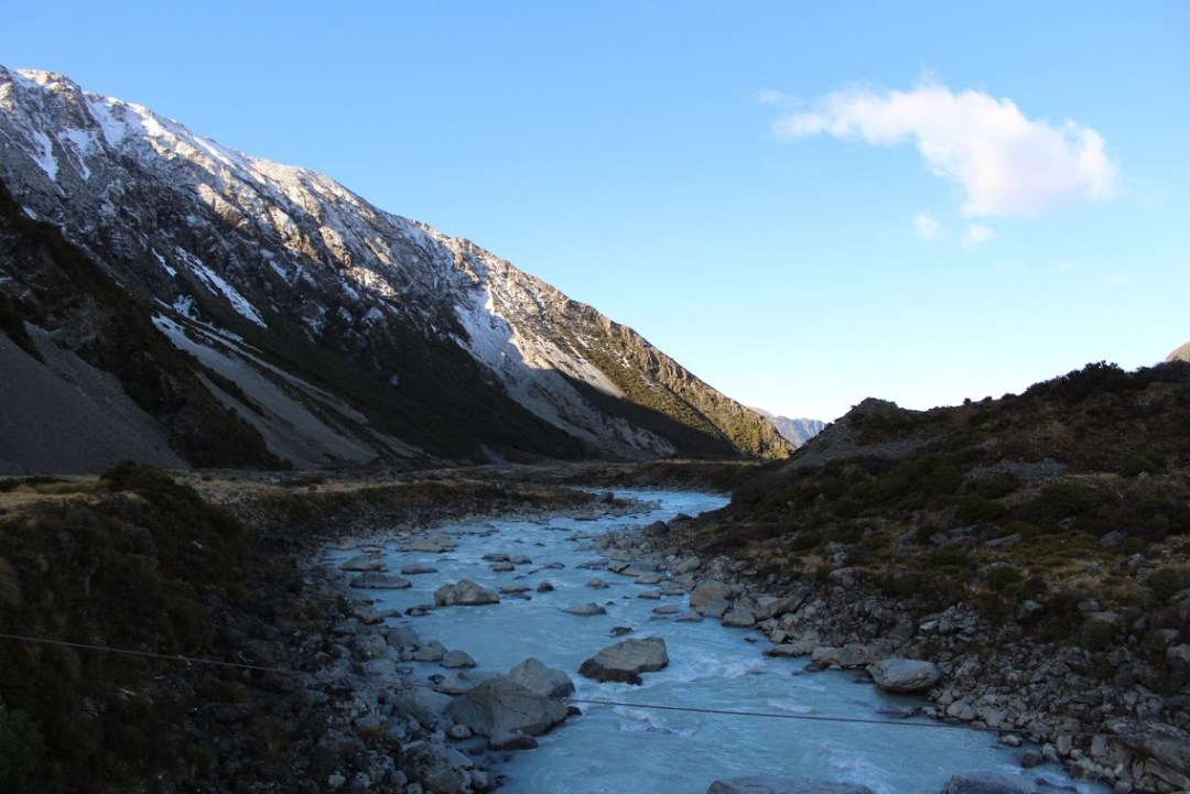 Hooker Valley Track river Aoraki:Mount Cook