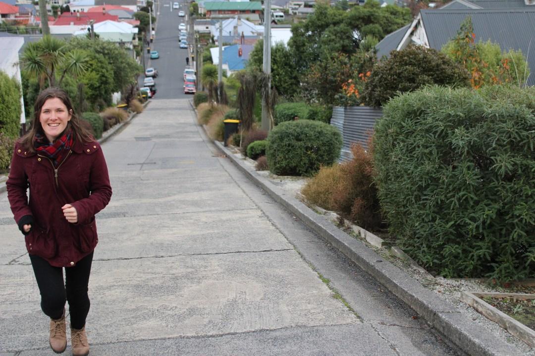 Running up Baldwin Street in Dunedin, world's steepest street