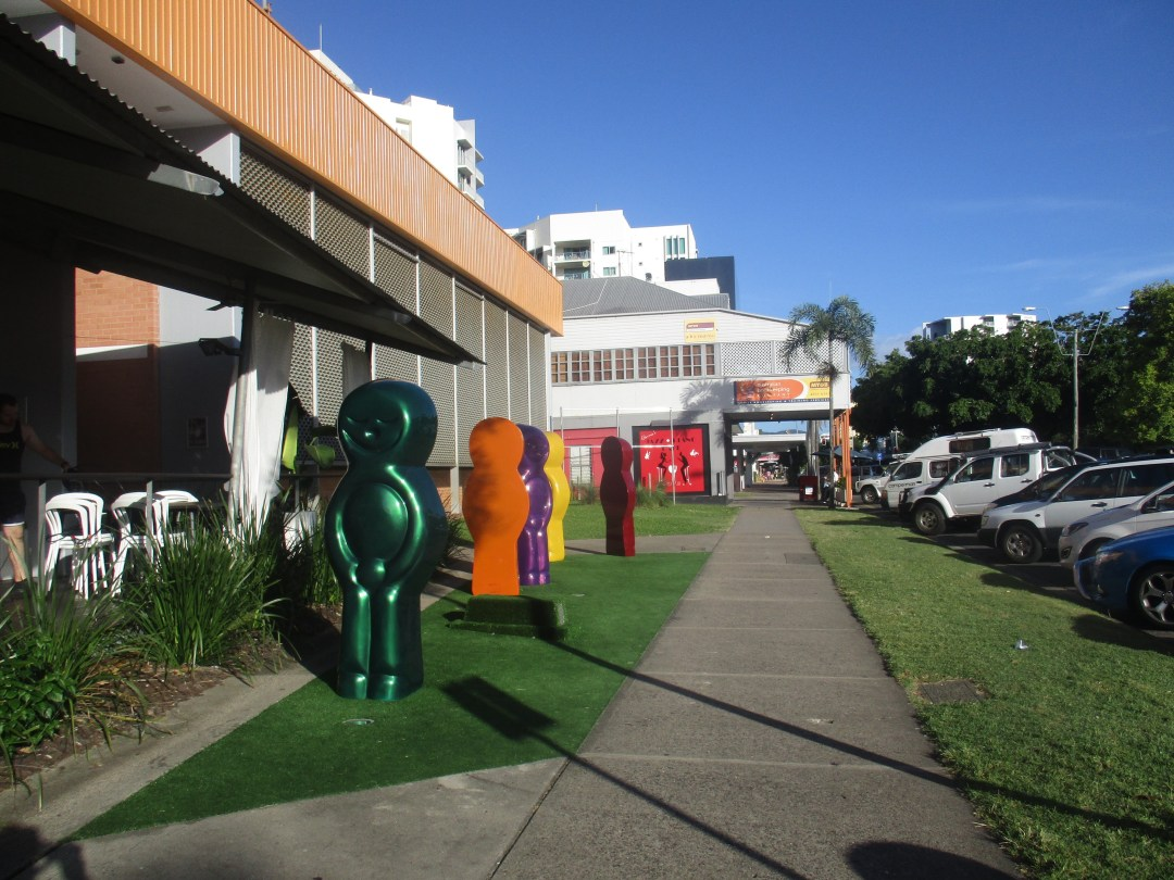 Giant jelly babies stand outside an art gallery on a sunny day in Cairns