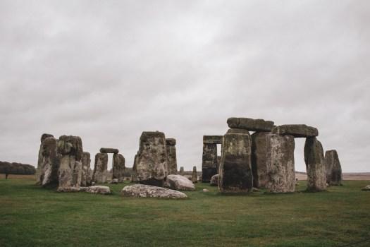 Close-up of Stonehenge on a rainy day