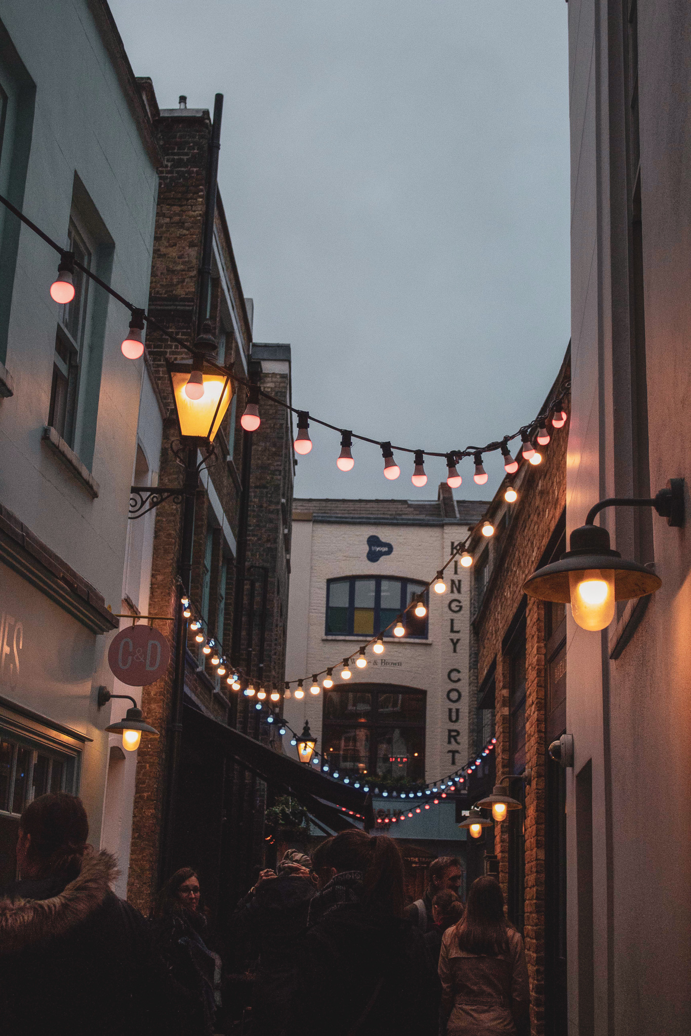 Kingly Court London with fairy lights and old style sreet lamps