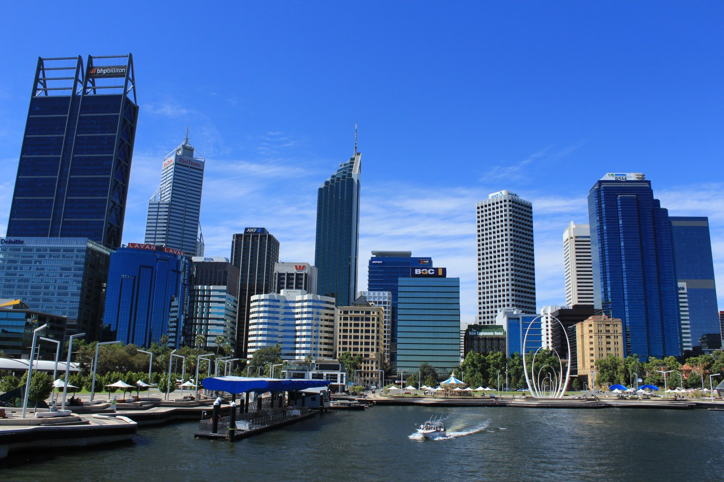 View of skyscrapers and a harbour in Perth