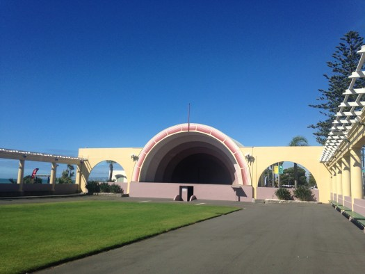 Sound Shell stage in front of grass square in Napier New Zealand