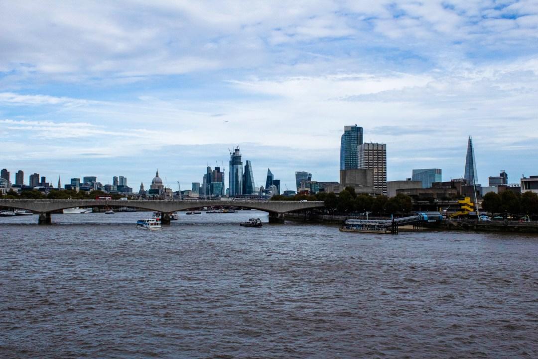 View across the city of London from Embankment Bridge
