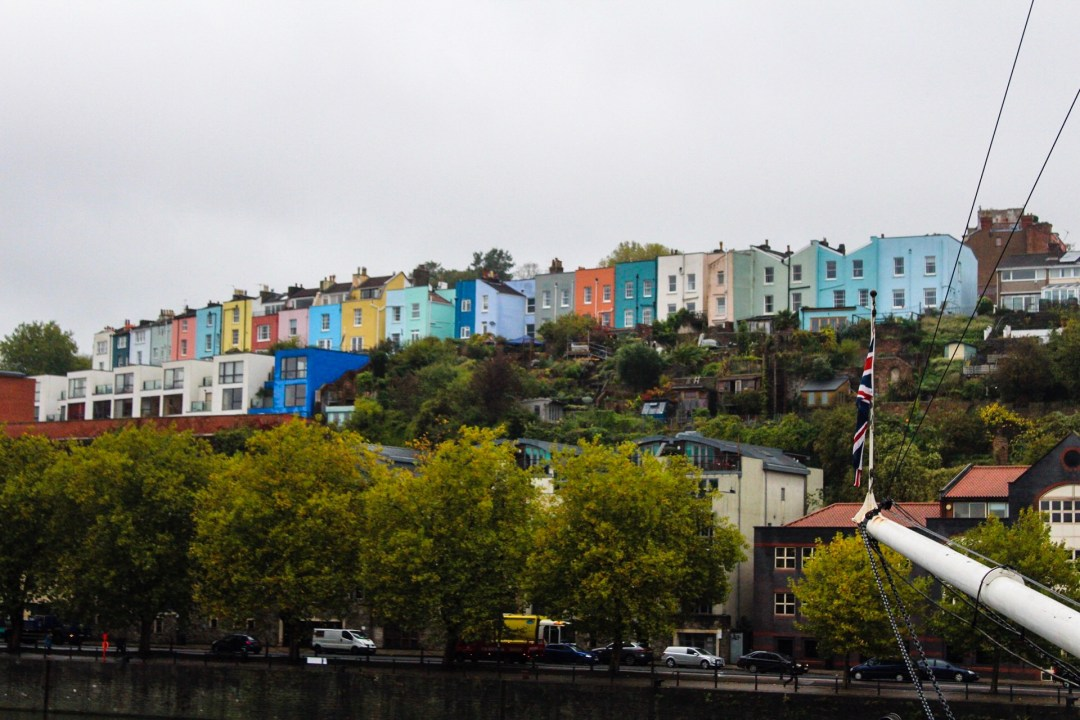 Colourful houses in Bristol on the edge of the river Avon