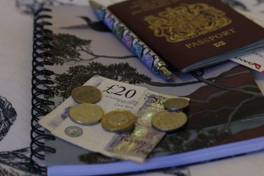 money and passport on top of a notebook