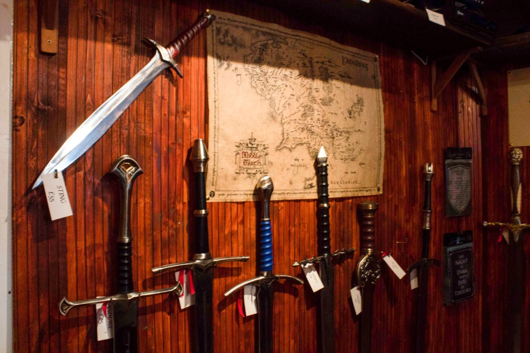Lord of the Rings sword replicas at the Knights Vault in Edinburgh