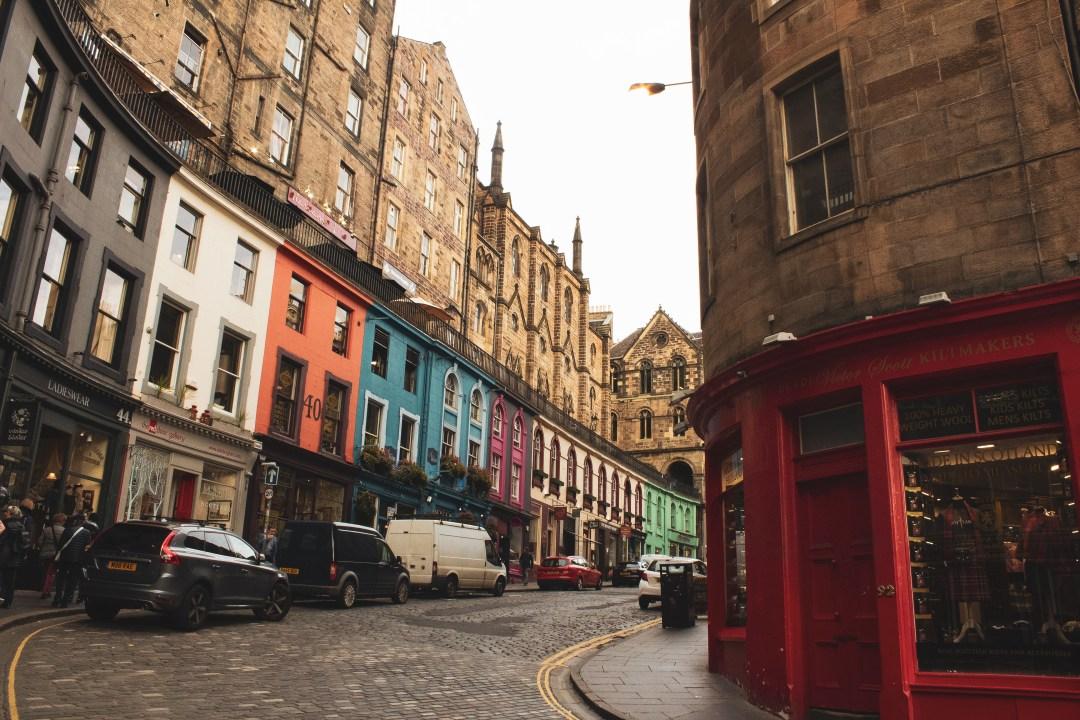 colourful shops of Victoria Street Edinburgh