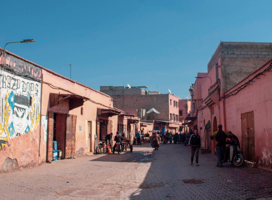 Walking through Marrakech Tannery in the day