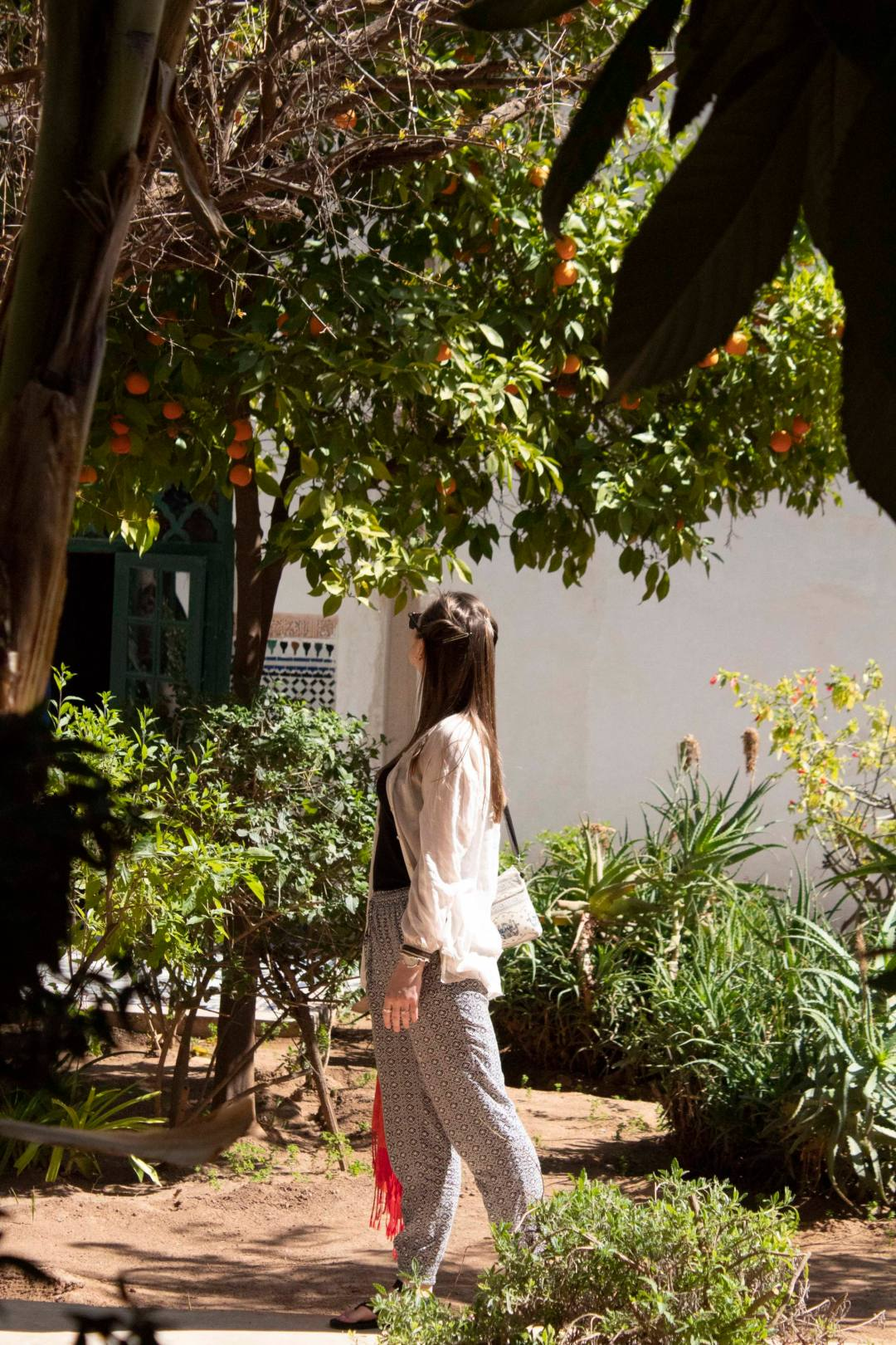 Woman in Marrakech garden with orange trees