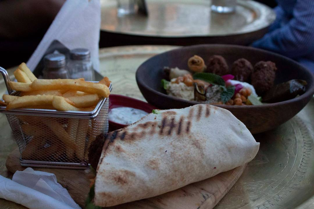 moroccan wrap and vegetable bowl in Marrakech