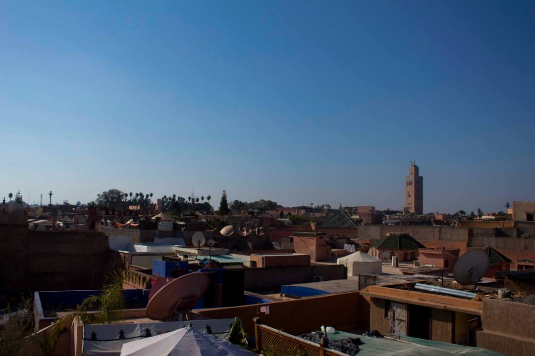 views over marrakech rooftops and mosque tower