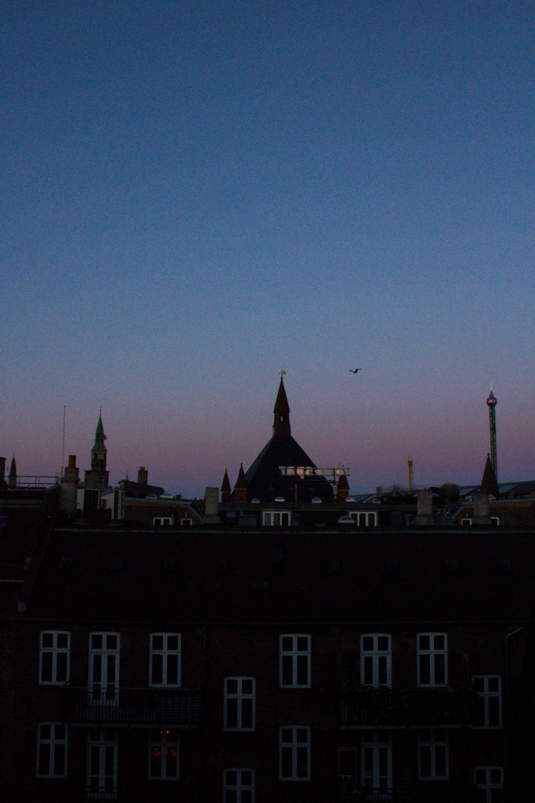 late sunset over Copenhagen rooftops