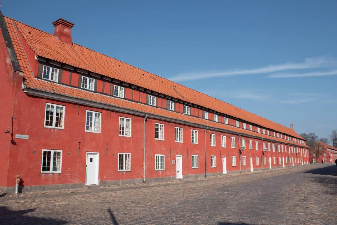 Red terraced houses of Kastellet barracks in Copenhagen