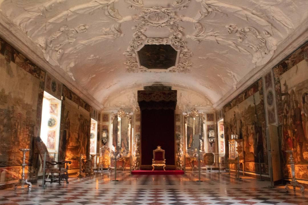 Coronation thone inside Knight's Hall Rosenborg Palace
