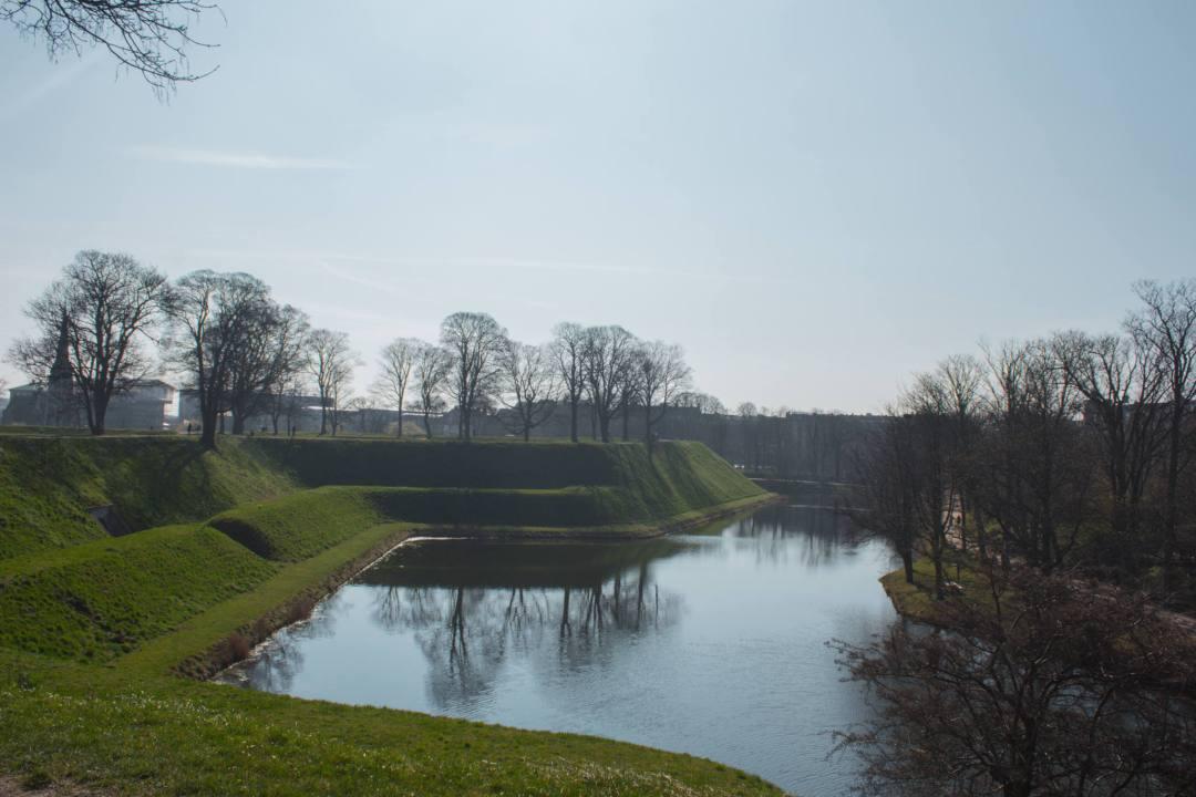 moat and grass bank around kastellet in Copenhagen