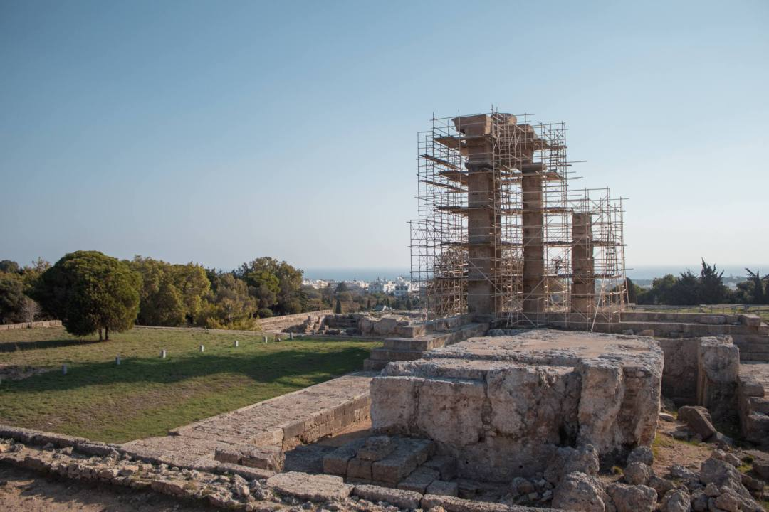 Scaffolding around the Acropolis of Rhodes
