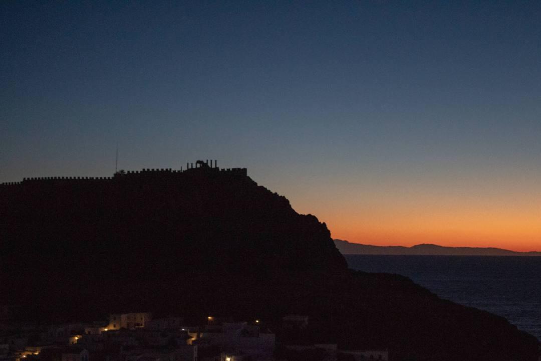 Turkey coastline visible from Rhodes at sunrise