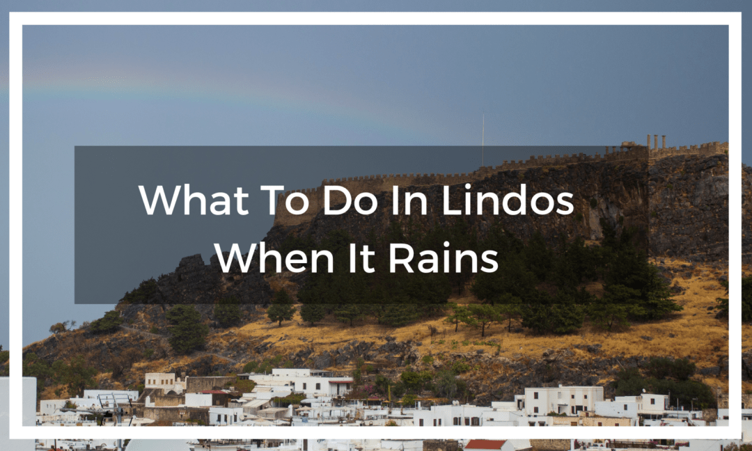 title text overlay rainbow over lindos village and acropolis