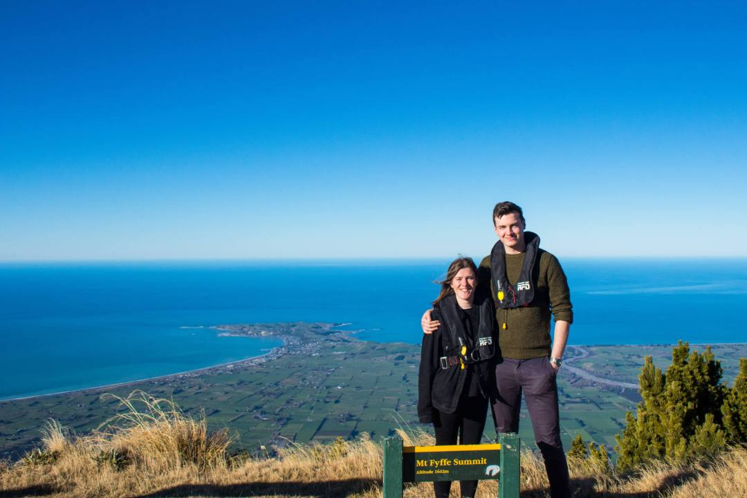 people standing atop mount fyffe kaikoura