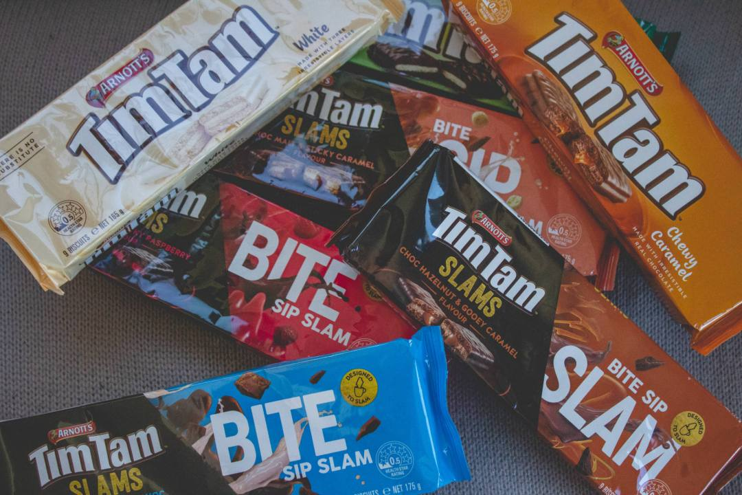 Packets of Tim Tam biscuits