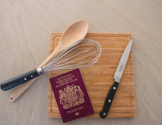 Kitchen utensils and chopping board with passport
