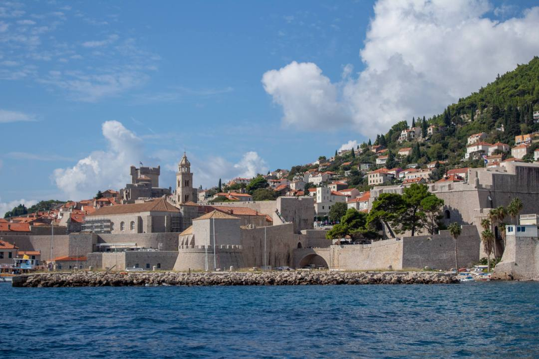 dubrovnik city walls from lokrum island ferry