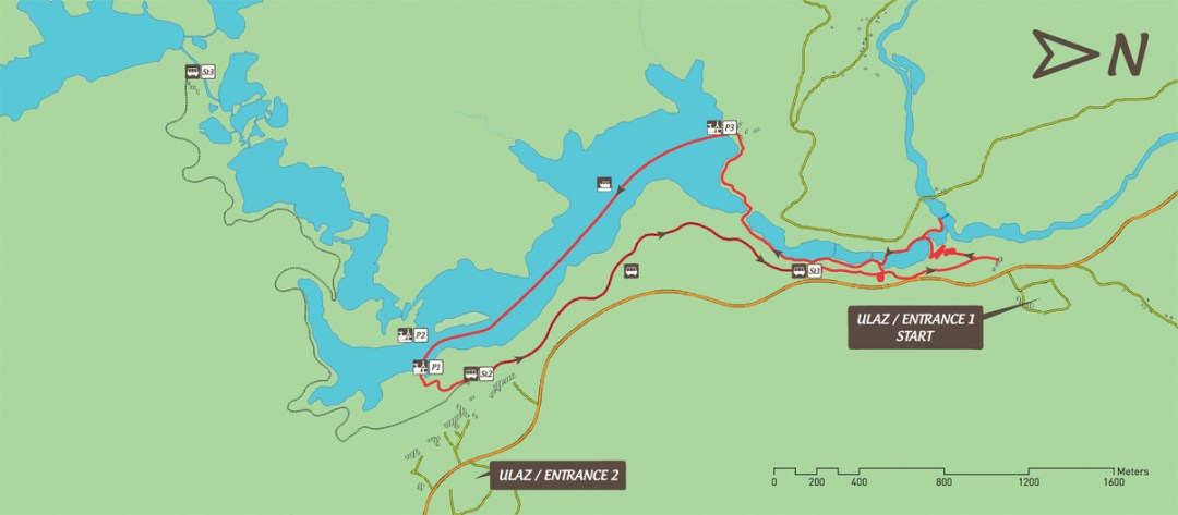 map of route B at Plitvice Lakes National Park