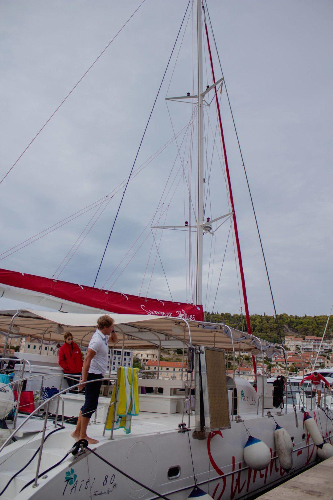 catamaran boat in hvar old town port